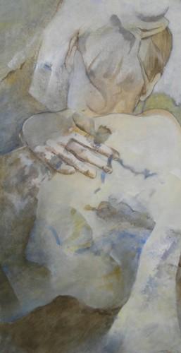 Etreinte I – Acrylique sur toile – 80cm x 40 cm